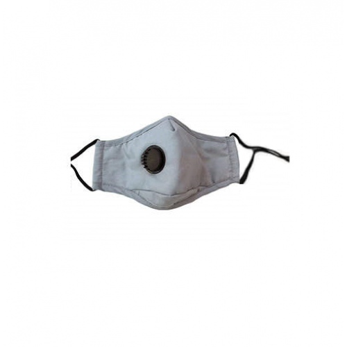 Reusable Cotton Face Mask with Filter & Valve - Gray